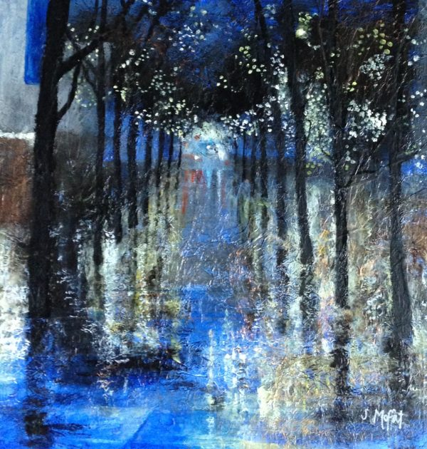 Lights and Rain. 48 cm x 48 cm. Mixed media
